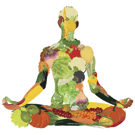 Yoga and healthy eating. Silhouette of vegetables on a white background.