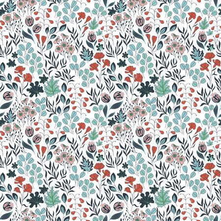Seamless pattern with hand drawn plants. Wildflowers, berries and other plants. Ilustração