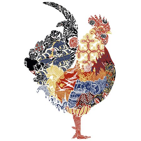 Gallic cock. The symbol of France, decorated with miniatures and ornaments symbolizing France.