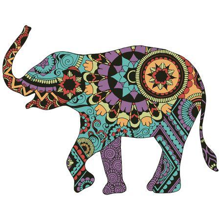 Elefant mit orientalischem Muster. Ein Elefant, reich verziert mit indischen Ornamenten, auf weißem Grund.