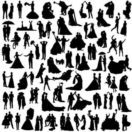 Set of silhouettes of wedding couples. Many diverse grooms and brides. Illustration