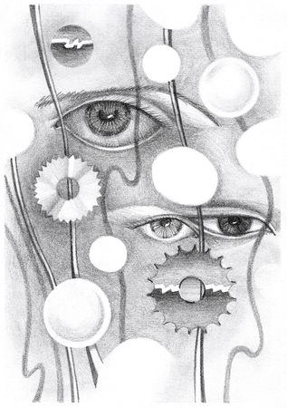 peculiar: Abstract drawing of the eye and objects. Hand-drawn in pencil on paper.