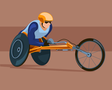 Racing on the sports wheelchair. Competitions of people with disabilities.