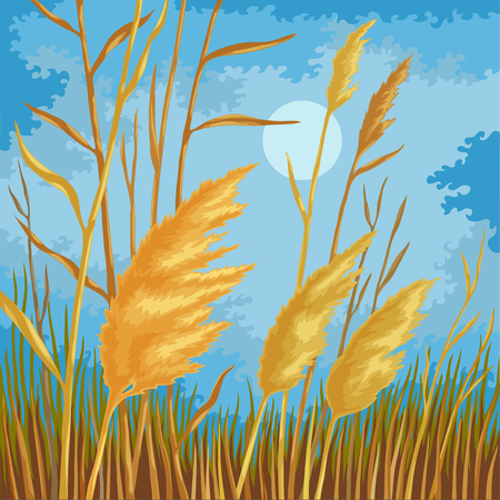 Stylized landscape in vibrant colors. Yellow reed leaves. Meadow grass in the foreground. Blue sky with wavy cloud.