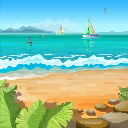 seas: Marine tropical landscape. Sailboats and gull on the high seas. Stones and tropical plants. Illustration