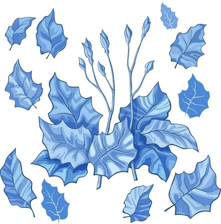gently: Blue stylized leaf stems buds isolated