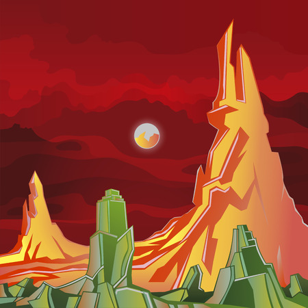 rock layer: Alien Planet fantasy world, rocks and red sky