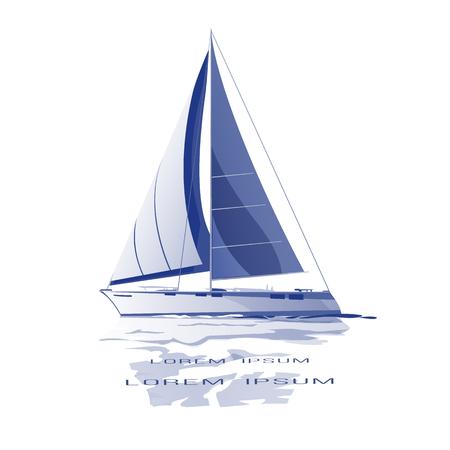 Icône de vecteur de yacht voile bleu isolé avec réflexion