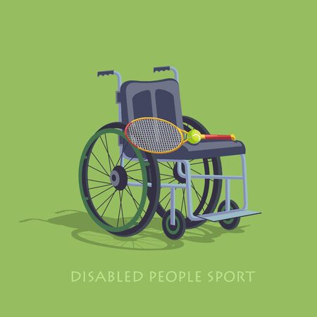 Wheelchair Sport. Tennis in a wheelchair to play. Stock image competition of people with disabilities to move. The stylized image.  Disabled sports.  Stock vector illustration.