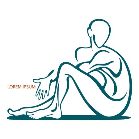 La figura stilizzata di un uomo in una postura seduta. Logo e umano emblema con lo spazio per il testo. Azione. Archivio Fotografico - 68422926