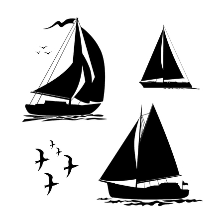 Yacht, sailboats and gull set. Black silhouette isolated on white background. Stock  illustration.