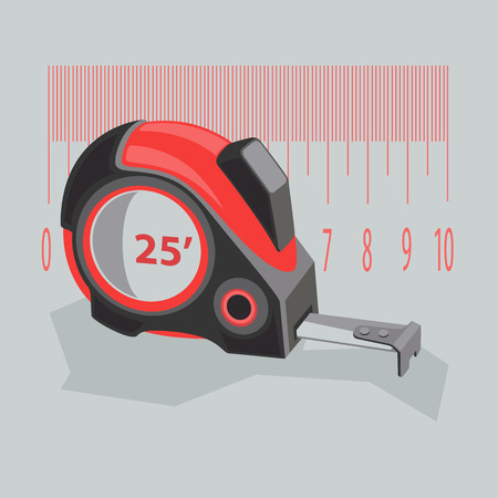 Measuring tape of red color on a gray background. Stylized construction tools with numbers. Stock vector illustration of a flat.