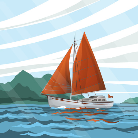 Stylized  seascape with the sailboat floating on the waves. Yacht, sea and mountains. vector illustration.