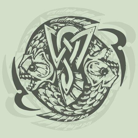 Gefährliche Piranha Fische mit offenen Mündern, scharfen Zähnen und Flossen geeignet für Maskottchen oder Unterwasser-Tierentwurf. Hand gezeichnet Vektor-Illustration. Grunge Halbton-Texturen. Standard-Bild