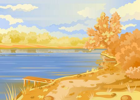 Autumn landscape in the open air. River bank. Bridge pier on the background of the pond. Cloudy sky. Shrubs and trees in pastel colors. Vector illustration. Stock Photo