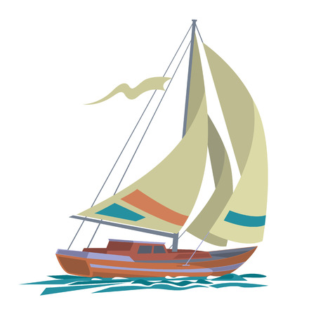 Sailing boat floating on water surface. Sea yacht with olive sails and water  isolated on white background. Vector color illustration. Фото со стока