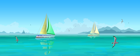 Seascape. Sailing boats and seagulls flying over blue ocean. Mountains and clouds in the background. Stock vector illustration. Stock Photo