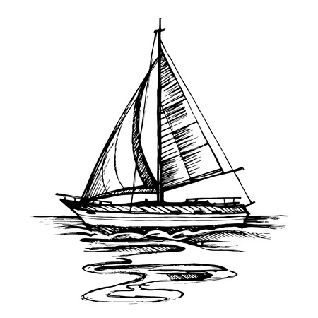 reflection in water: Sailing boat vector sketch isolated with reflection. Sea yacht floating on the water surface.