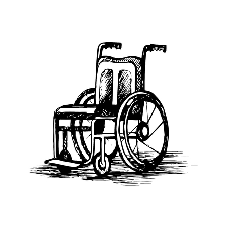Wheelchair isolated on white background. Vector sketch illustration.
