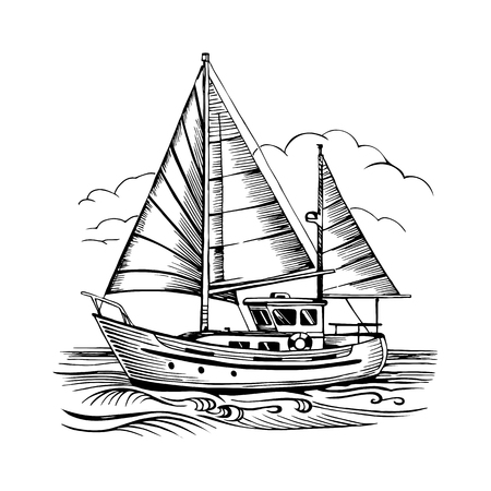 Sailing boat vector sketch isolated with clouds and stylized waves. Sea yacht floating on the water surface.