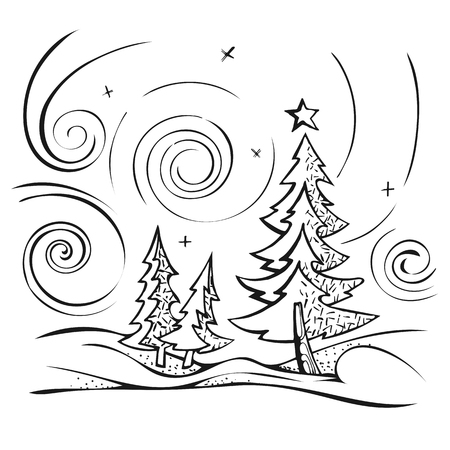 snowdrifts: Winter landscape sketch stylized vector. Firs in snowdrifts on a background of the sky.