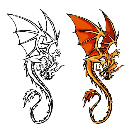 Dragon orange stylized image. Circuit. Colour. Stock vector illustration isolated