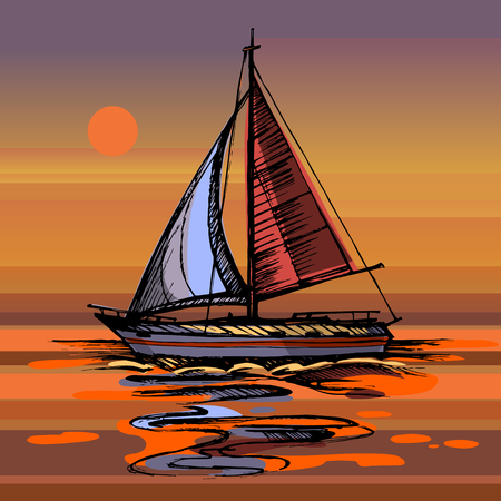 Sailing boat vector color sketch with reflection. Sunset Sea yacht floating on the water surface. Stock Illustratie