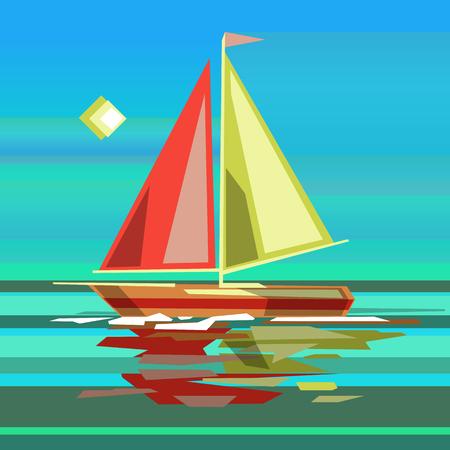 Barca a vela stilizzata sulla superficie della superficie del mare con la riflessione in acqua. Illustrazione vettoriale di riserva.