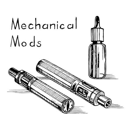 Vector el bosquejo del cigarrillo electrónico.