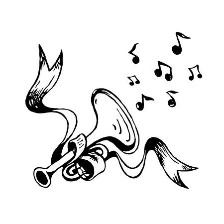 Vector sketch trumpet and ribbon Illustration