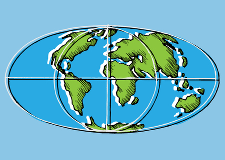 World map scan stylized vector image