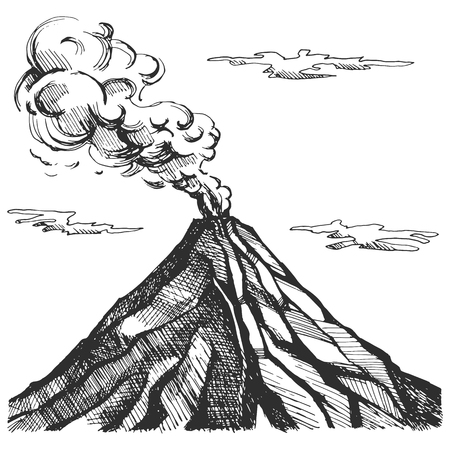 Vector sketch of the volcano. The eruption and smoke against the sky with clouds.