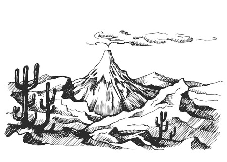 volcanic: Vector sketch landscape volcanic eruption cacti and rocks. Illustration