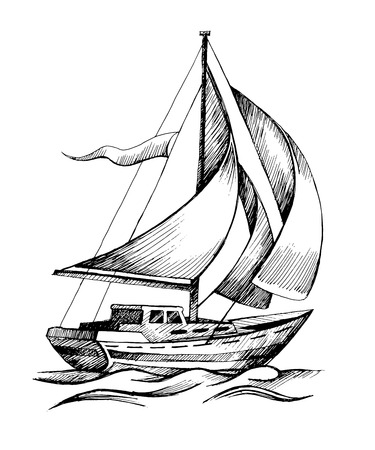 schooner: Sailing ship vector sketch isolated with waves. Illustration