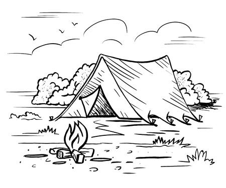 Camping senderismo recreación al aire libre Foto de archivo - 71022934