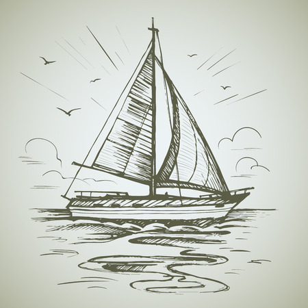 Sailing boat scene vector sketch Иллюстрация
