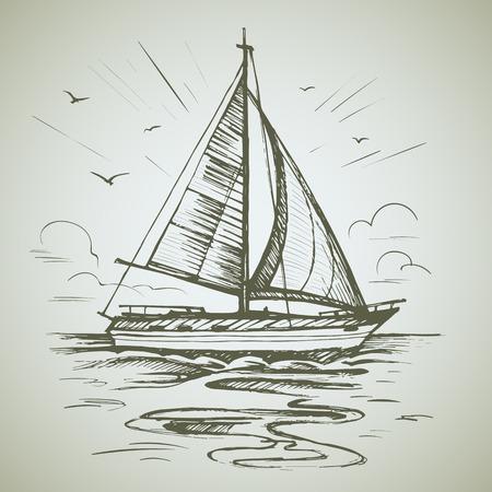 Sailing boat scene vector sketch Stock Illustratie