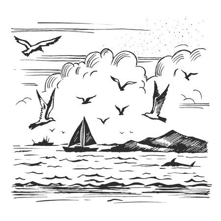 Schizzo marino con yacht e gabbiani