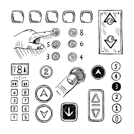 Sketch pushing elevator buttons