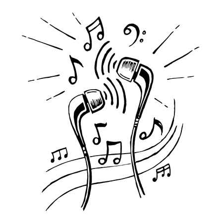Headphones doodle sketch style vector illustration with musical notes, hand drawing.