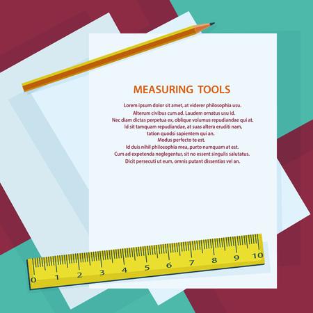 gauging: Measuring instruments, ruler, pencil, against sheets of paper Illustration