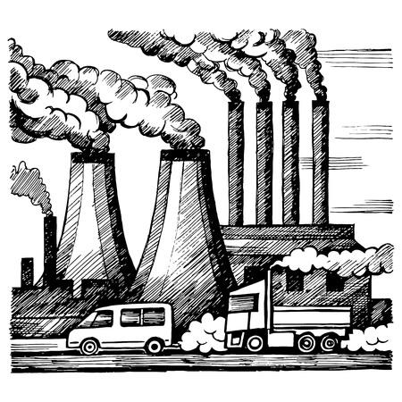Ecologie lucht en atmosfeer vervuiling Stock Illustratie