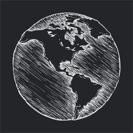 plot: Hand drawing line icon. Globe outline drawing. Vector doodle sketch. Illustration