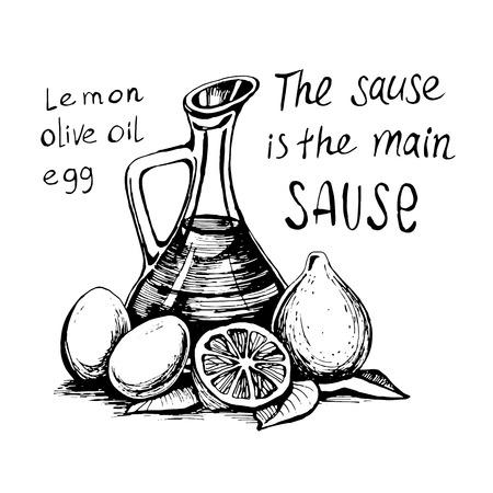 卵とレモンをソースします。家庭用品や準備の方法。ベクトルをスケッチします。 手描きの食材。