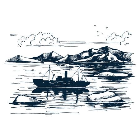 Antarctica landscape. Icebreaker in the ice. Illustration