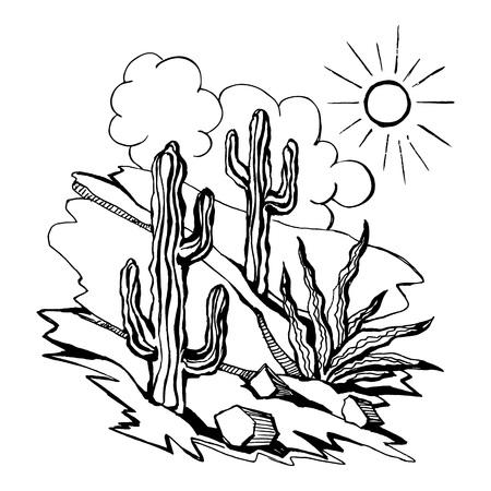 Vector sketch  of outline drawing  landscape