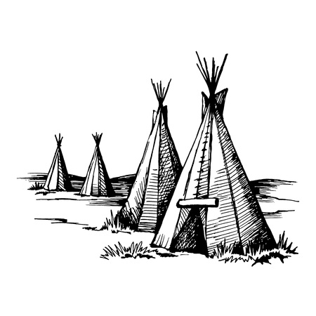 Native American wigwam, traditional housing sketch vector illustrations.