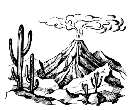 Vector sketch landscape volcanic eruption Illustration