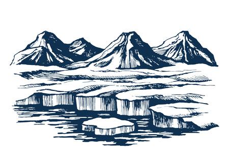 Iceland group mountains on the island Illustration