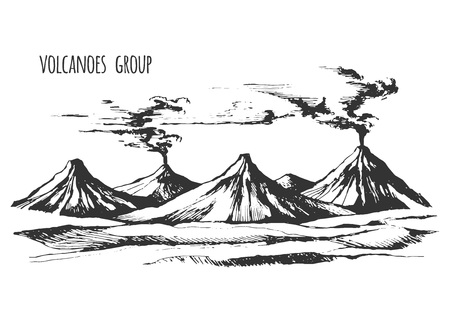 smoky mountains: Volcanoes group landscape Illustration